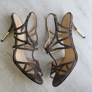 Kate Spade Strappy Metallic Fabric Gold Heels 10